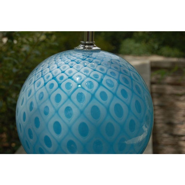 Galliano Ferro Vintage Murano Glass Table Lamps Blue For Sale - Image 10 of 11