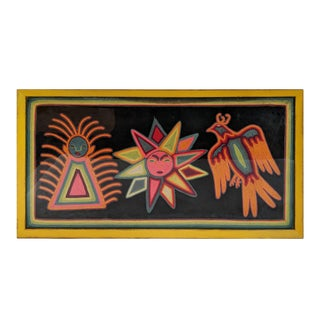 1980s Folk Art Framed Mola Hand Made Textile Sun Motif Wall Art For Sale