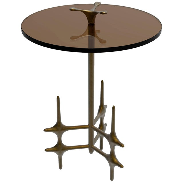 William Collins Collection Bronze and Glass Ico Drinks Table For Sale - Image 10 of 10