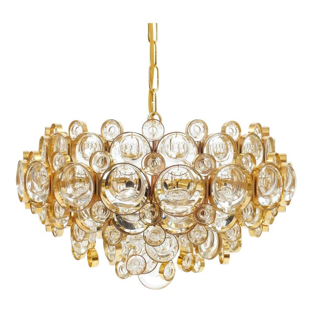 Large Gold Palwa Brass and Glass Chandelier Lamp, Germany 1960 For Sale