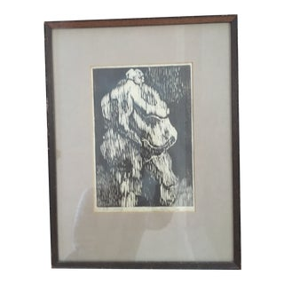 1960s Mid Century Woodcut Print Nude Figural Art, Signed For Sale