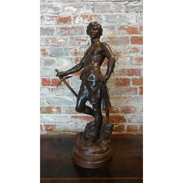 Antoine Bofill -Warrior w/Sword & Shield-19th c. French Bronze sculpture patinated Bronze sculpture -signed A. Bofill size...