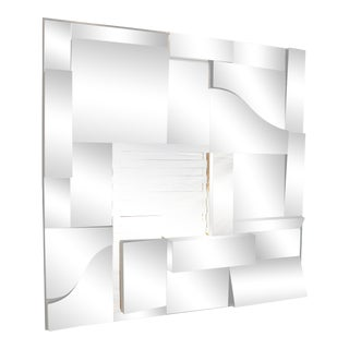 1980s Post Modern Cubist Angled Mirror in the Manner of Neal 's Slopes For Sale