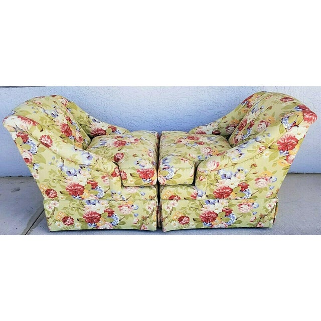 Century Furniture Century Furniture Company Floral Tropical Upholstered Skirted Club Chairs - a Pair For Sale - Image 4 of 8