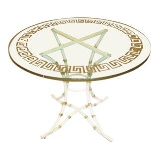 "Mediterranean Greek Key Glass Top 38"" Round Center Table For Sale"