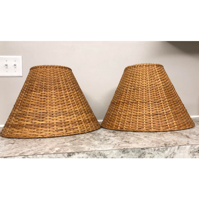 Vintage Rattan Lamp Shades - a Pair For Sale - Image 12 of 12