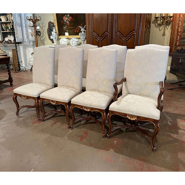 Set of Eight Louis XV Style Carved Walnut Dining Chairs From Minton-Spidell For Sale - Image 13 of 13