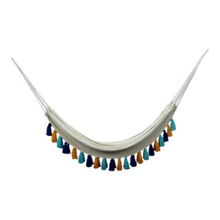 Handmade Handmade Deluxe Natural Cotton Hammock with Hue Inspired Tassels For Sale