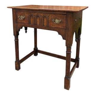 Antique English Gothic Drop Finial Oak Writing Table For Sale
