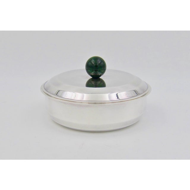 Puiforcat French Art Deco Silver-Plate Bonbonniere Box With Green Enamel Finial For Sale - Image 13 of 13