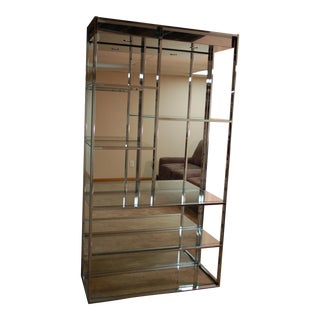 Vintage Chrome Mirror Back Etagere For Sale
