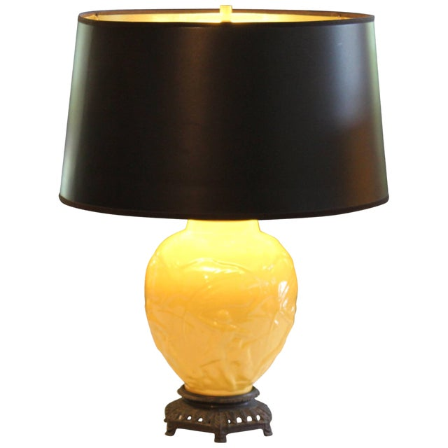 """Vintage Stangl Art Deco Pottery """"Archers"""" Atomic Yellow Large Globe Vase Lamp For Sale"""