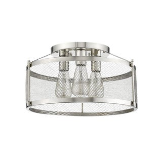 Sheffield 3 Light Semi-Flush Ceiling, Polished Chrome For Sale