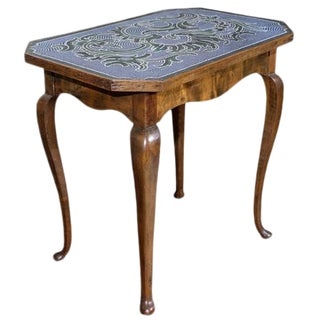 18th C. Austrian Hand Beaded Occasional Table For Sale