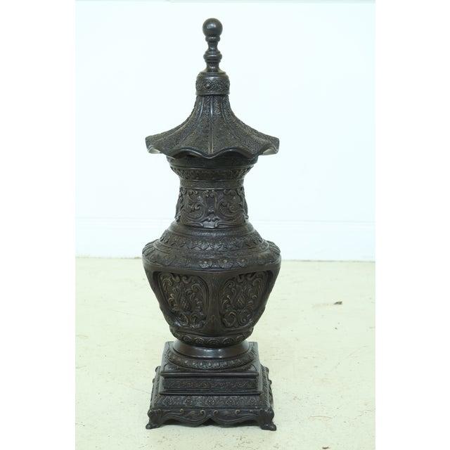 Maitland Smith Bronze Pagoda Form Lidded Urn For Sale - Image 10 of 10