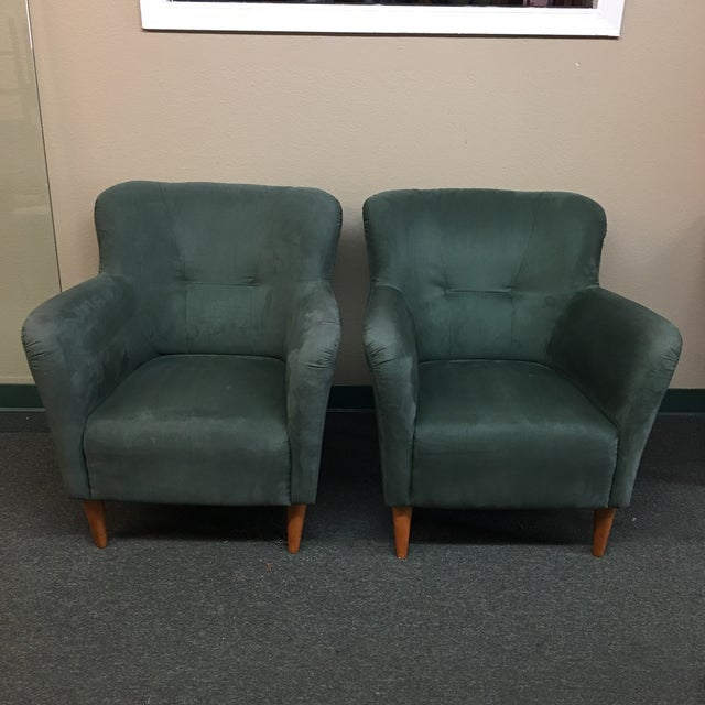 Soderberg Green Micro Fiber Side Chairs - a Pair - Image 3 of 8