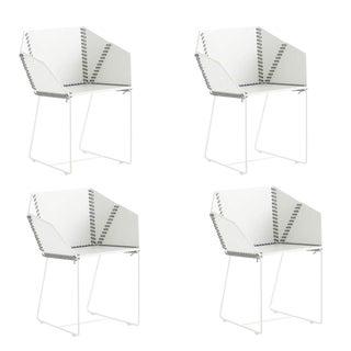 Gandia Blasco Baseball Stitch Marine Grade Patio Dining Chairs - Set of 4