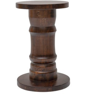 Late 20th Century Vintage Carved Walnut Stool Pedestal Table For Sale