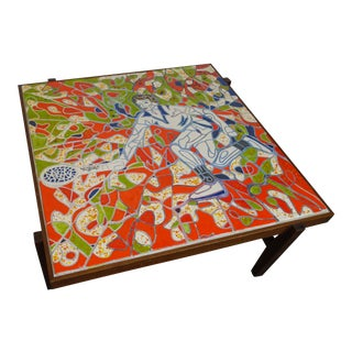 Mid-Century Modern Mosaic Tile Coffee Table For Sale