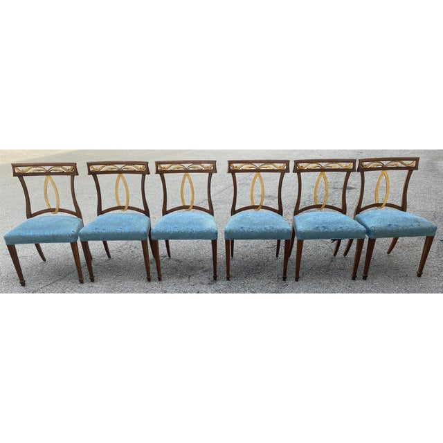 Late 20th Century Baker Furniture Curved Italian Gold Leaf Regency Dining Chairs, Set of Six For Sale - Image 13 of 13