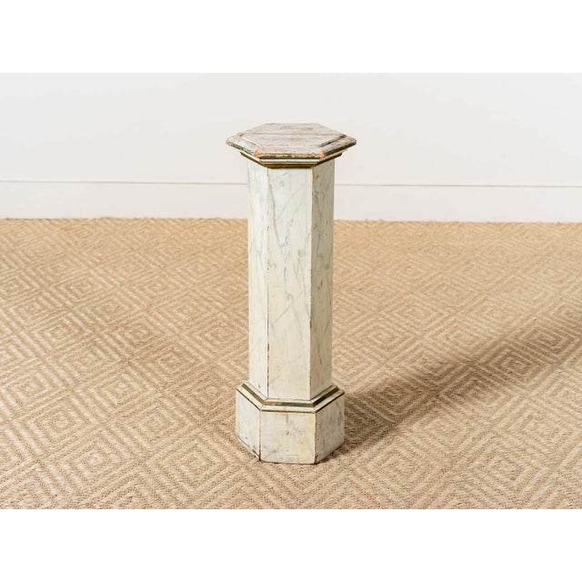 Wooden column with six sides Painted faux marble finish America Circa 1940