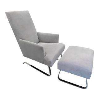Donghia Suede Odeon Chair and Ottoman For Sale