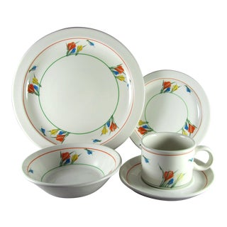 Clarice Cliff Style Midwinter Crocus Service for 10 Dinnerware - 50 Piece Set For Sale