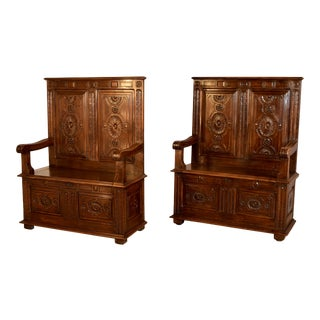 Pair of 19th C Hall Benches For Sale