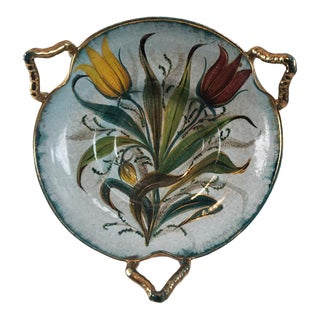 Vintage Italian Tulip Hand Painted Gold Gilt Art Pottery Bowl For Sale