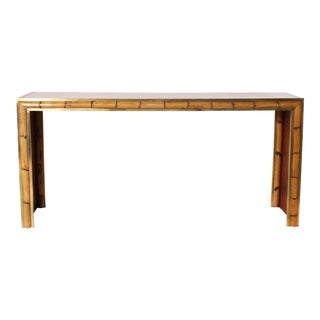 French Burled Walnut, Bamboo and Brass Console C. 1970 For Sale