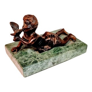Vintage French Bronze Boy Bird on Green Stone Patina Marble Base Signed For Sale