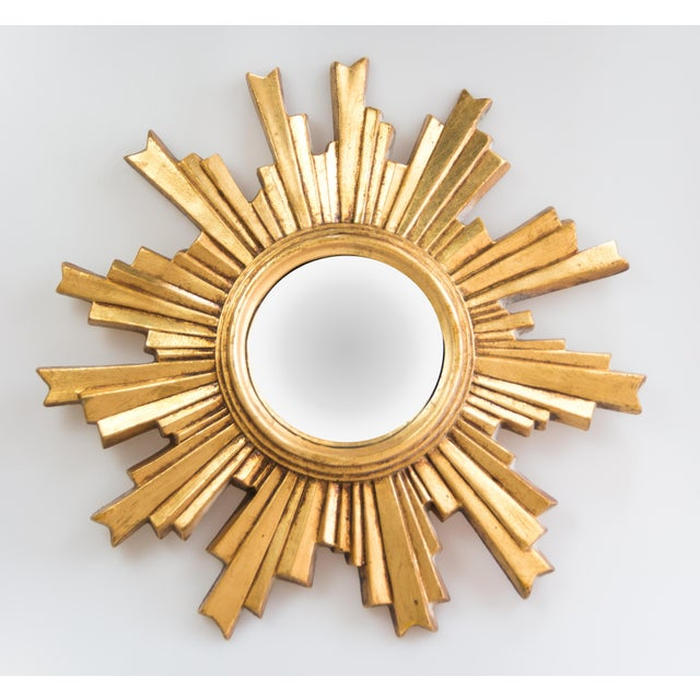Giltwood Mid Century French Giltwood Convex Sunburst Mirror For Sale - Image 7 of 7