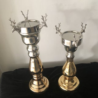 Contemporary Mercury Glass Holiday Stag Candleholders - A Pair Preview