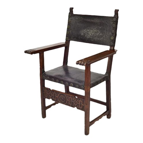 17th C. Spanish Renaissance Friar Chair For Sale