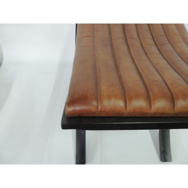 Metal Brown Modern Polished Leather Footstool For Sale - Image 7 of 7