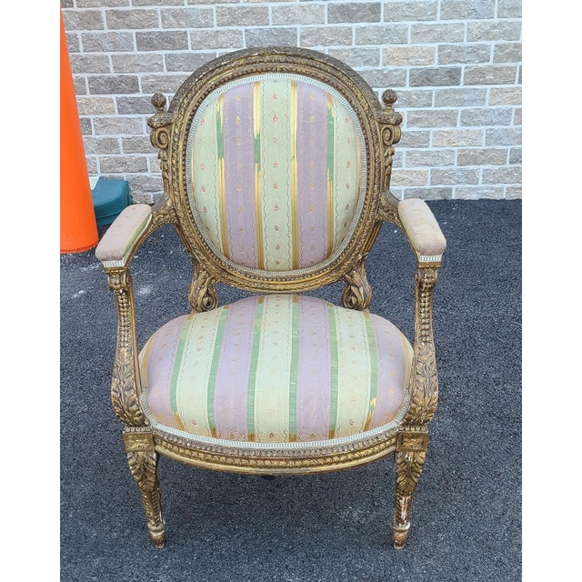 Fine Early 19th Century French Louis XVI Style Gilded Parlor Armchair For Sale - Image 12 of 12