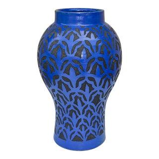 Blue Moroccan Vase W/ Chiseled Motif For Sale