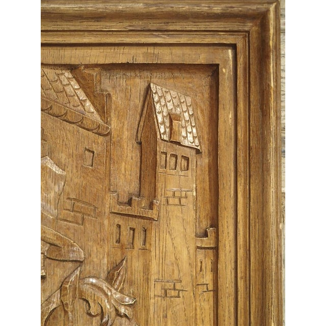 Belgian Set of Three Bas Relief Carved Belgian Panels, Circa 1930 For Sale - Image 3 of 13