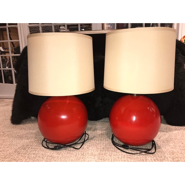 Baker Furniture Red Ball Circular Lamps - A Pair For Sale - Image 9 of 10