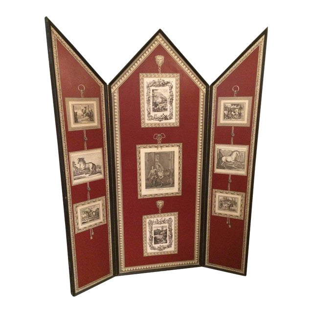 Graphic Fornasetti Style 3 Panel Screen For Sale