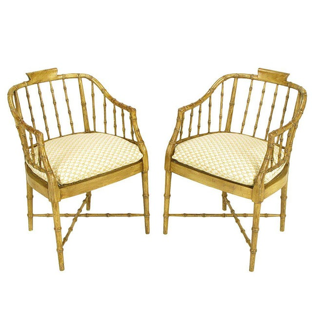 Pair of Baker Glazed Lacquer Bamboo-Form Armchairs For Sale - Image 10 of 10