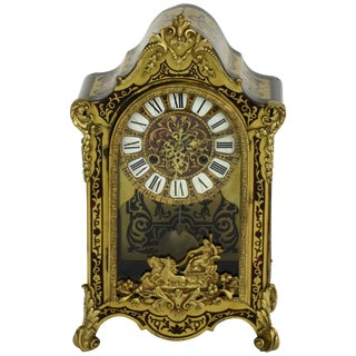 French Antique Boulle Mantel Clock For Sale