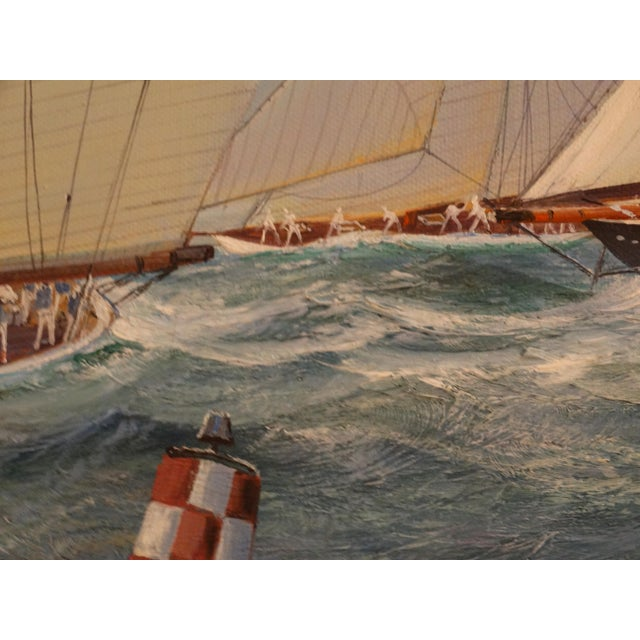 Nautical Yacht Racing Oil on Canvas, Michael Whitehand For Sale - Image 12 of 12