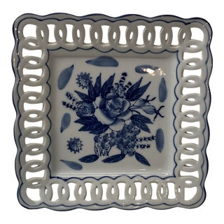 Porcelain Blue and White Dish With Pierced Border Edge. For Sale