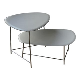 Contemporary Poltrona Frau Italian Leather-Upholstered Side Tables - 2 Pieces For Sale