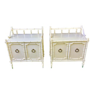 1940s Hollywood Regency Faux Bamboo Bedside Tables - a Pair For Sale