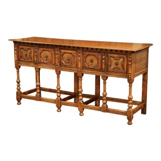 19th Century English Carved Chestnut and Oak Eight-Leg Console Table and Drawers