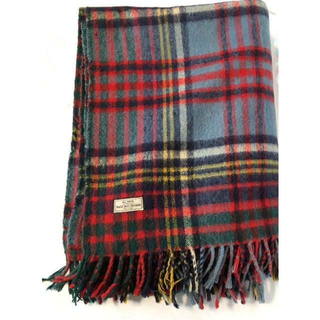 Vintage English Plaid Wool Blanket - Image 3 of 7