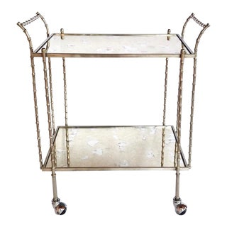 Hollywood Regency Nickeled Brass Bar Cart by Maison Baguès, 1960's For Sale