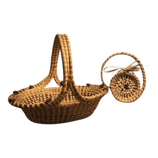 Charleston Sweetgrass Baskets (One by Ellis Family) - a Pair For Sale